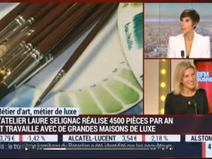 French porcelain from Laure Selignac featured on BFM TV